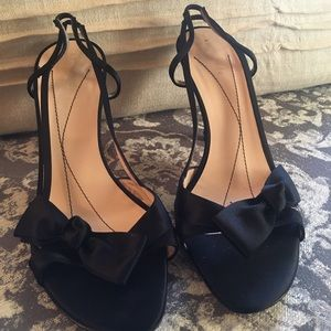 Kate Spade black satin slingback heel sandals